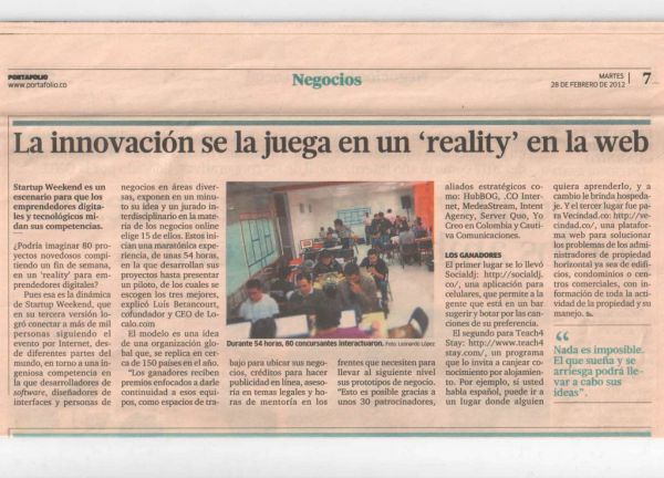 Intent Agency in the newspaper on Startup Weekend Bogota 2012