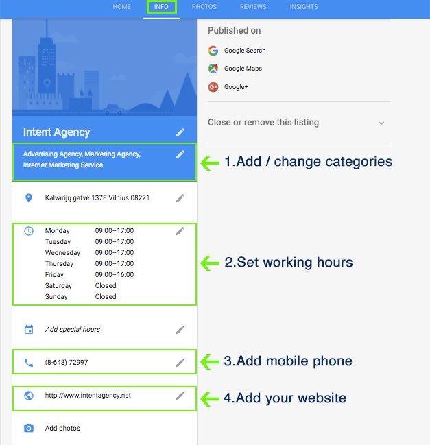 Google My Business Optimization local seo settings