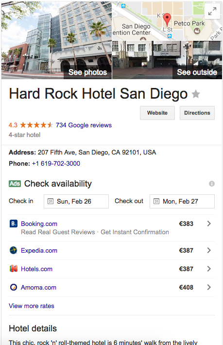 Google My Business single card hard rock hotel example
