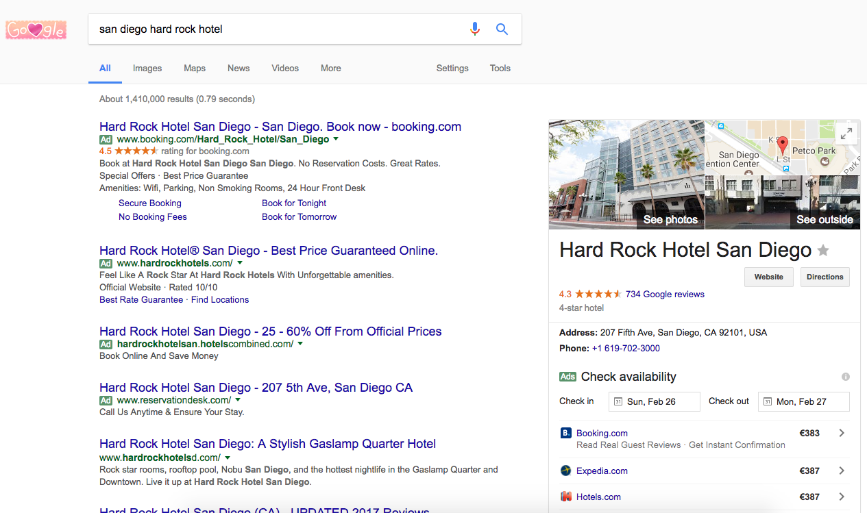 hard rock hotel san diego google my business