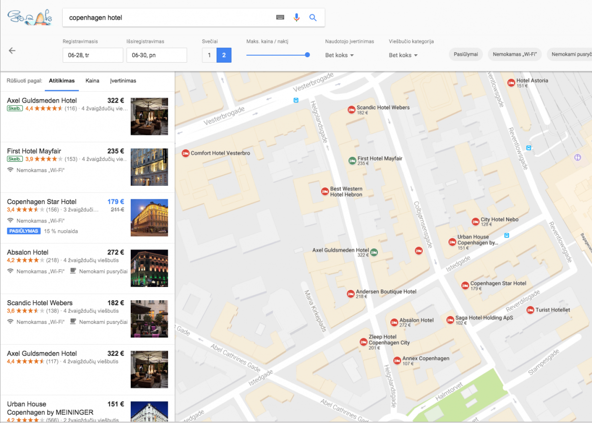 Hotel Prices on Google Maps