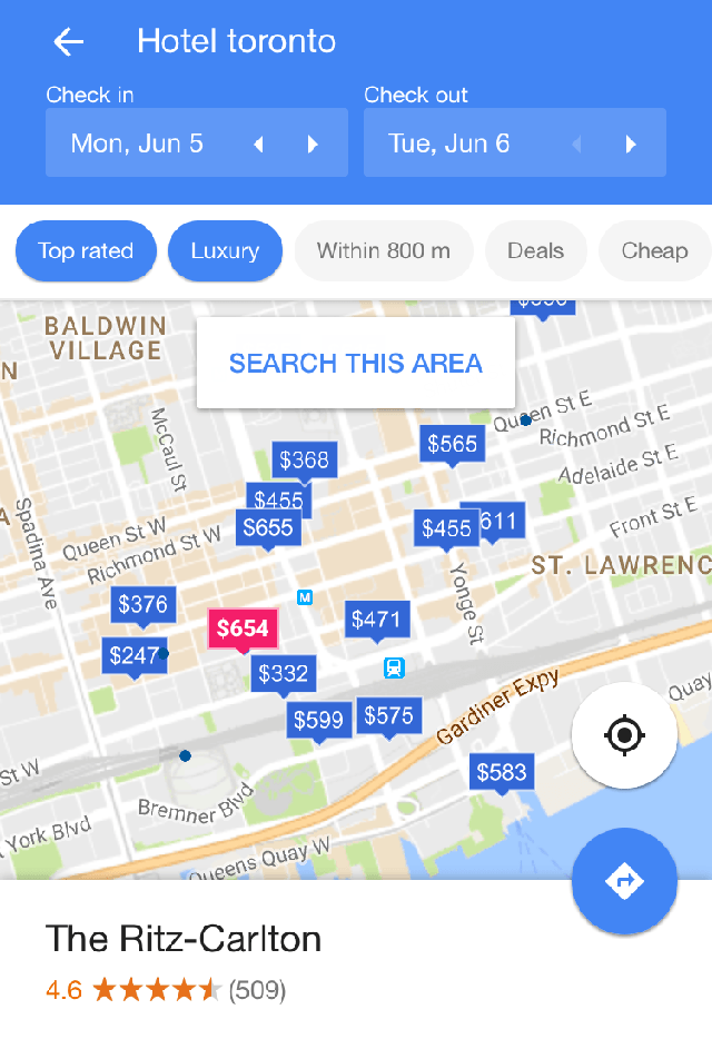 google hotel price tags selected map